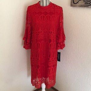 Sharagano red lace dress.